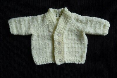 Baby clothes UNISEX BOY GIRL premature/tiny<4lb/1.8kg soft pale yellow cardigan