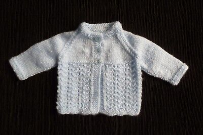 Baby clothes BOY premature/tiny<5lbs/2.3kg soft blue cardigan pattern SEE SHOP!