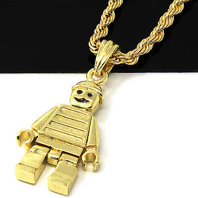 """Mens 14k Gold Plated Lego Man Pendant 24"""" Rope Chain Hip Hop Necklace D486"""