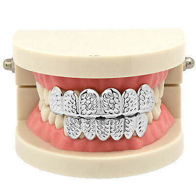 New Silver Plated Diamond Cut Hip Hop Mouth Teeth Grillz Caps Top & Bottom Set