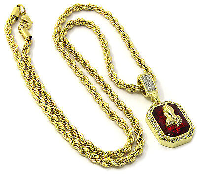 """Mens 14k Gold Plated Red Ruby Prayer Hands Pendant Hip Hop 24"""" Rope Chain D420"""