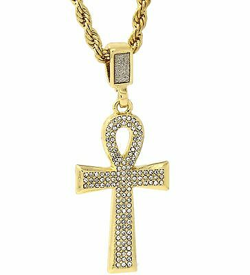 """Mens Gold Plated Egyptian Cz Ankh Hip-Hop Pendant 24"""" Rope Chain Necklace D453"""