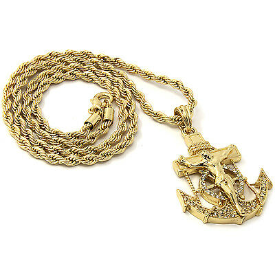 b21c31fc4 Mens Gold Iced Out Cz Anchor Jesus Pendant 30