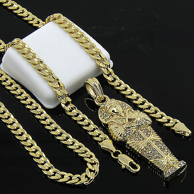 """Mens Gold Plated Hip-Hop Egyptian Coffin Pendant 24"""" Cuban Chain Necklace D535"""