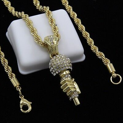 """Mens Gold Plated Hands On Mic Rap Hip-Hop Pendant 30"""" Rope Chain Necklace D939"""