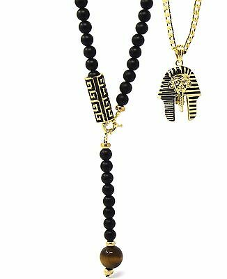 """Mens Gold Iced Pharaoh Hip-Hop Pendant 30"""" Eye Of Tiger Pattern Bead Necklace T6"""