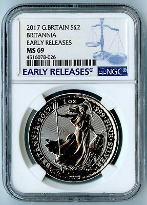 2017 Britain 1 oz Silver Britannia Trident Privy £2 NGC MS69 FR Black SKU46486
