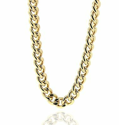 "Mens 18K Gold Plated 30 or 36"" Inches Hiphop Cuban Curb Link Chain Necklace 10mm"