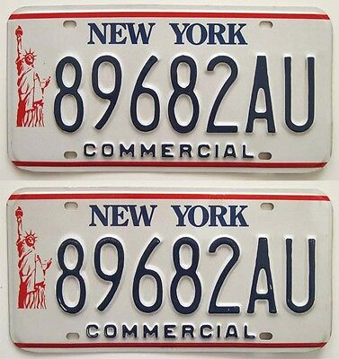 "New York 1986-2000 ""Statue of Liberty"" TRUCK License Plate Pair, DMV Clear, Nice"