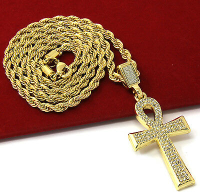 """Mens Gold Plated Egyptian Cz Ankh Hip-Hop Pendant 30"""" Rope Chain Necklace D857"""