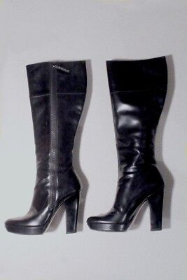 Bottes cuir noir brillant haut talon Gucci black high heel boots 36 37 C UK3 fcba2bbd71aa