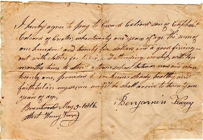 1816, Exeter, New Hampshire, Indentured Servant boy receives more pay, Veazey