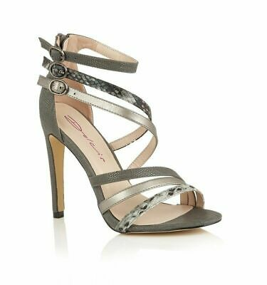 94d900438867 Womens Dolcis Lidia Strappy Peep-Toe Grey Evening Sandals Party Shoes Uk 3-8