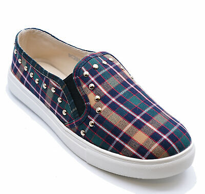 Womens Flat Tartan Slip-On Casual Plimsoll Comfy Pumps Trainers Shoes Uk 3-8