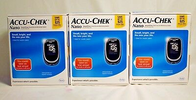 Lot of 3 NEW ACCU-CHEK Nano Smartview Care Kit Blood Glucose Monitoring System