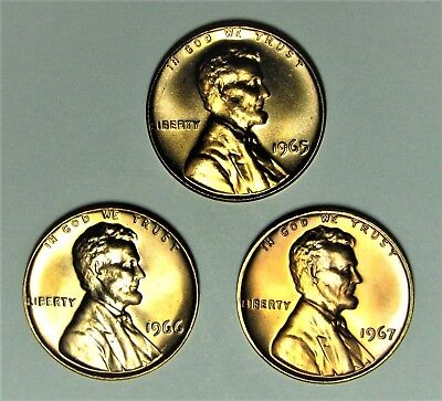 1965, 1966 And 1967 Special Mint Set Lincoln Cents   Sms