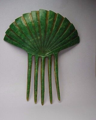 Signed Antique Art Deco  Plastic Celluloid Japanese Fan  Hair Comb Accessories