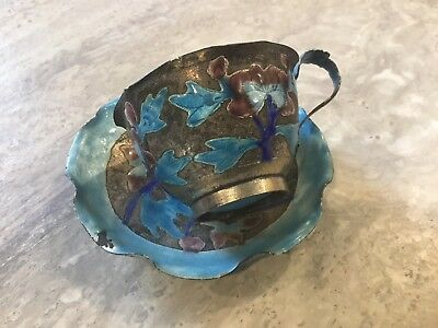 ANTIQUE Vintage CHINESE EXPORT  Blue ENAMEL TEA CUP & SAUCER China silver plate
