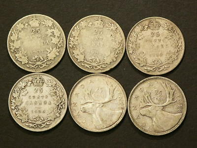 1931 1932 1933 1936 1937 1938 Canada 25 Cents Lot of 6 coins  #1466
