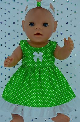 """Play n Wear Doll Clothes To Fit 17"""" Baby Born  LIME POLKA DOT DRESS~HEADBAND"""
