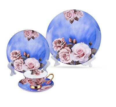 Luxury Art Flower Dinner ware Set Gold Handpainted - 4 Pieces - Top Quality