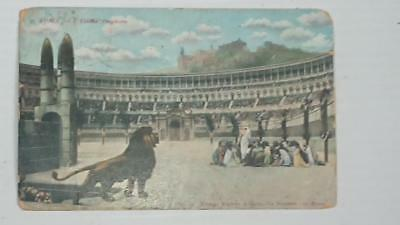 "Old post card Postcard - Coliseum Rome -Christians vs Lions "" Last Prayer"" 1906"