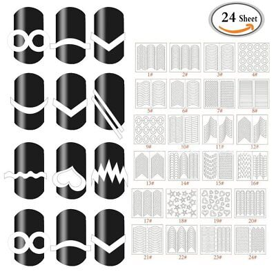 24 Vinyl Guide French Tips Form Fringe Sticker Nail Art Gel Polish Decal Stencil