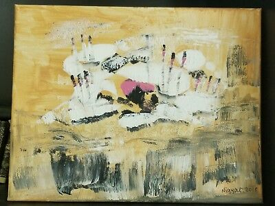 Quiet Scenery Original Abstract Painting,   Acrylic on Stretched Canvas, Signed