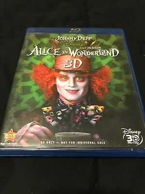 ALICE IN WONDERLAND (2010, 3D BLU-RAY) Very Good Condition -DEPP/HATHAWAY
