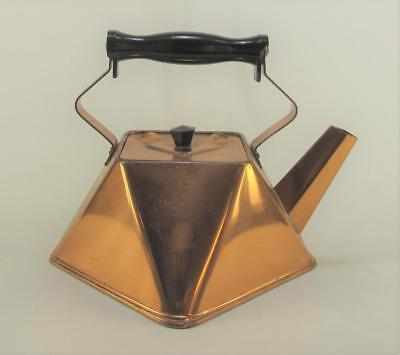 Rare Cubist Style Copper Kettle 8 Sided with Lid and Bakelite Handle 1920s