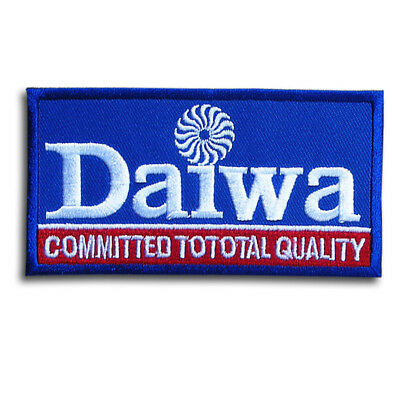 """Daiwa Rods /& Reels Blue White Oval Advertising 3.5/"""" x 2.5/"""" Hat Patch"""