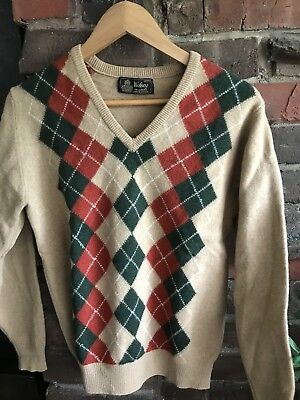 WOLSEY pure Wool JUMPER  Argyle TOP lightweight Vintage Sweater VTG S M OG