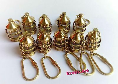 SET OF 10 Brass Lantern key rings Golden Finish key chains Steampunk Style Rings