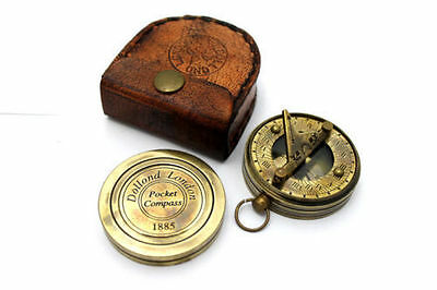 Brass Ship Pocket Sundial Timer Compass with Leather Case -Dollond London COMPAS