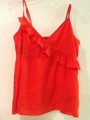 4589395318 Forever 21 Red orange Womens Ruffle Tank Top Size S Small Spaghetti Straps