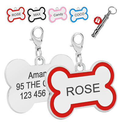 Personalised Dog Tags Bone Shape Pet Cat ID Tags Engraved Name Plate Custom Free