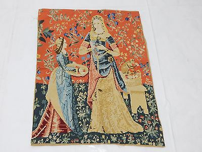 Vintage French Beautiful Medieval Scene Needle Point Tapestry 81x61cm (T847)
