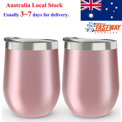 2 Pack Stainless Steel Stemless Wine Glass Tumbler 350ml Double Wall Tumbler Set