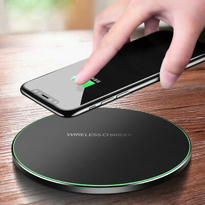 UK Qi Fast Wireless Charger Charging Dock Pad Mat Metal For iPhone X Samsung S9+