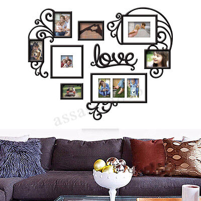 Heart Love Collage Photo Picture Frame Set Black Wall Art Decoration
