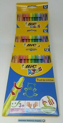 12 x Bic Kids Turn & Colour Twistable Crayon 3Up  Clean Hands in stock