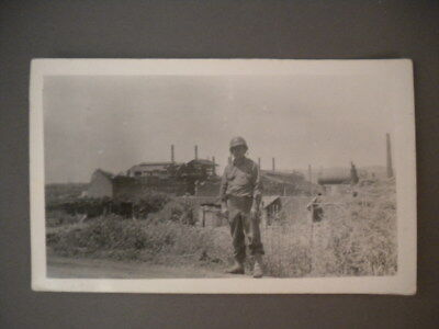 """Real Vintage Photo 4 1/2"""" x 2 3/4"""" WW2 Soldier Picture 4.5 x 2.75 Black & White"""