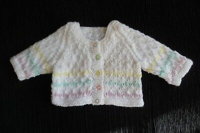 Baby clothes GIRL premature/tiny<7.5lb/3.4kg soft white,pastel stripes cardigan