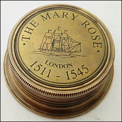Mary Rose Brass Sundial Compass Antique Sundial Compass Gift Nautical Compass