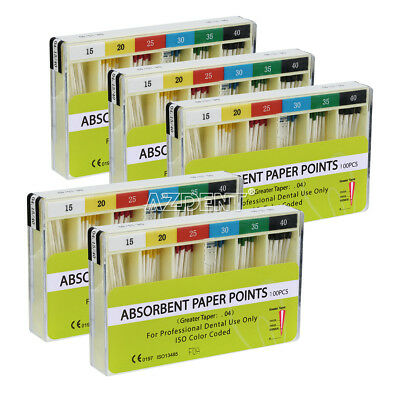 Dental Absorbent Paper Points Taper 0.04 15#-40# for Root Endodontic Cleaning