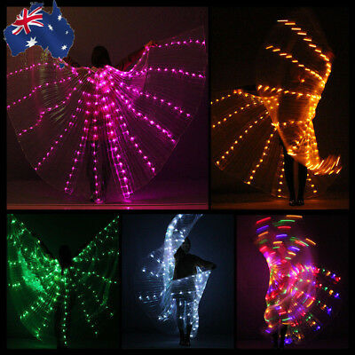 AU Womens LED Isis Wings Glow Light Up Belly Dancing Club Costumes