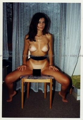 Slim Racy Brunette Nude On Chair 2 / Firm Breast (Vintage Photo Germany 1990s)