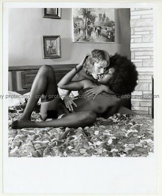 Nude Woman W. Big Afro Kisses Blonde (Vintage Photo Master B/W ~60s/70s)