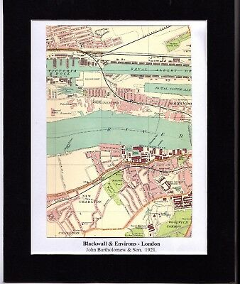 Antique MAP ~ BLACKWALL & ENVIRONS London ~ 1921 Bartholomew MOUNTED Original