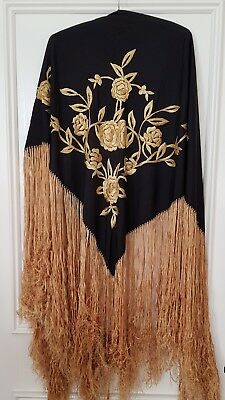 Antique Vintage 1920s Black & Gold Silk Hand Embroidered Fringed Piano Shawl